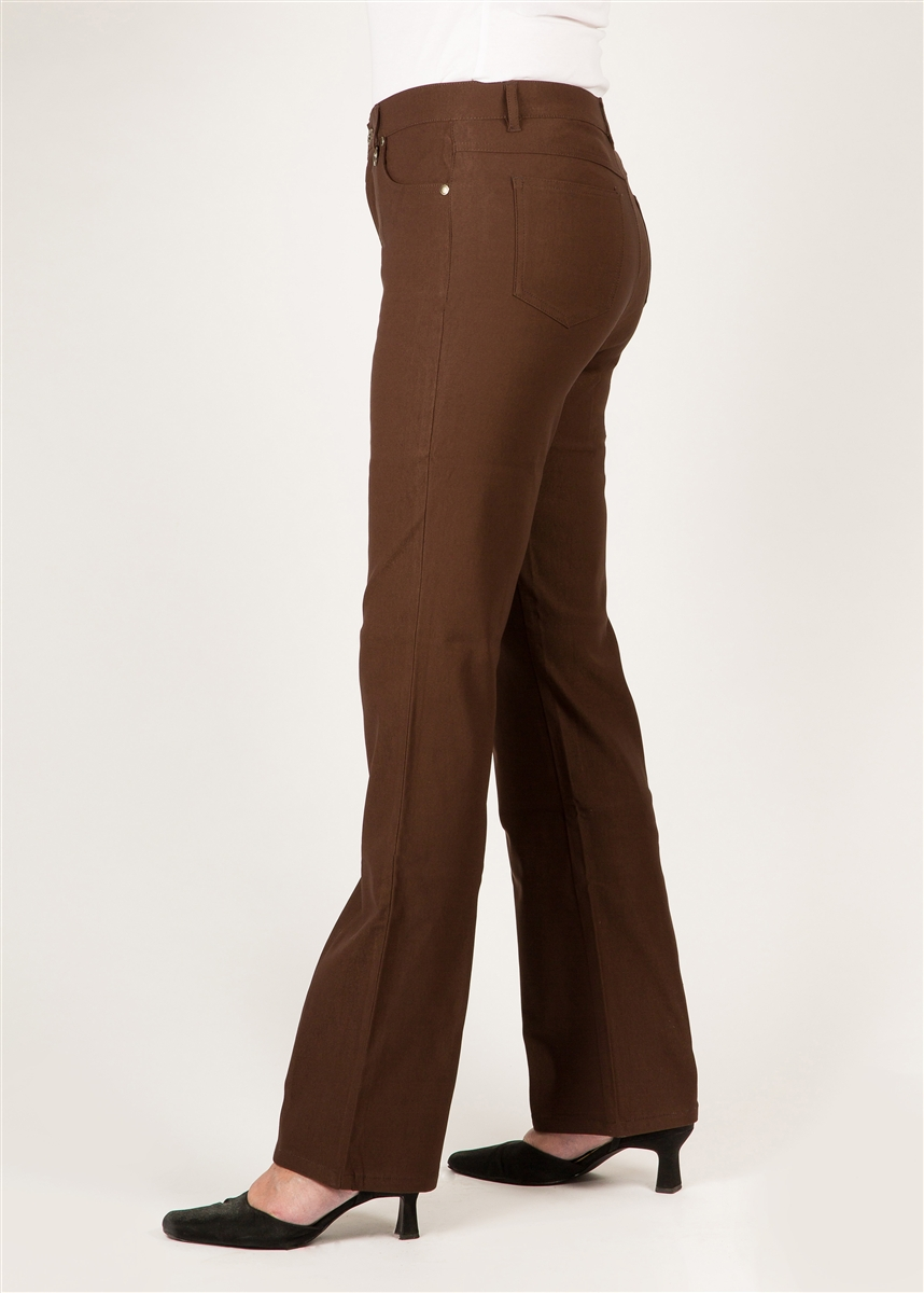 e2e8ced8 Simon Chang 5 Pocket Straight Leg Microtwill Pants Style # 3-5302X -  Colour: Brown - [14 Plus , 20 Plus, 22 Plus, 24 Plus Left in Stock